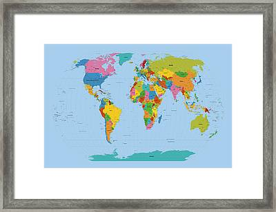world map bright framed print by michael tompsett