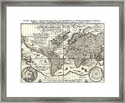 World Map By Matthaus Merian. Framed Print