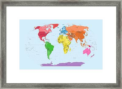 World Map Continents Framed Print by Michael Tompsett