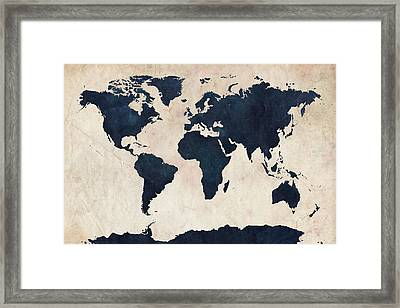 World Map Distressed Navy Framed Print by Michael Tompsett
