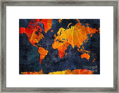 World Map - Elegance Of The Sun - Fractal - Abstract - Digital Art 2 Framed Print by Andee Design