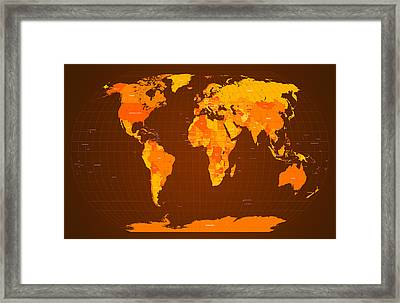 World Map Fall Colours Framed Print