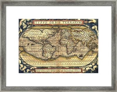 World Map From The Theatrum Orbis Terrarum 1570 Framed Print by Pg Reproductions