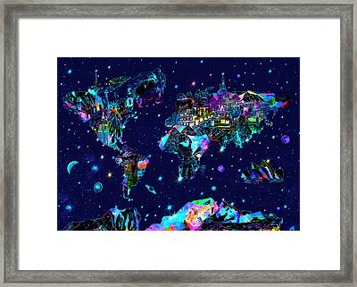 World Map Galaxy 10 Framed Print