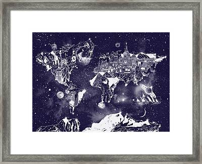World Map Galaxy 2 Framed Print