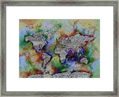 World Map Galaxy 4 Framed Print