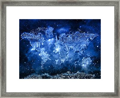 World Map Galaxy 5 Framed Print