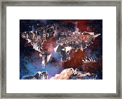 World Map Galaxy 6 Framed Print