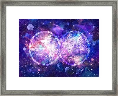 World Map Galaxy 7 Framed Print