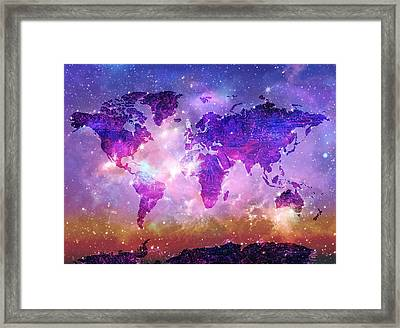 World Map Galaxy 8 Framed Print