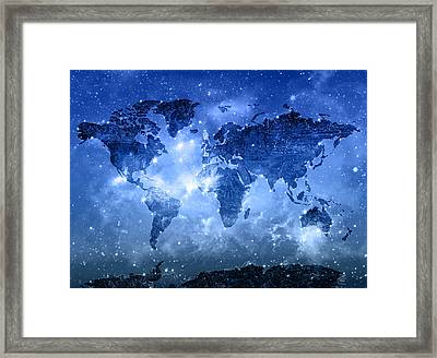 World Map Galaxy 9 Framed Print
