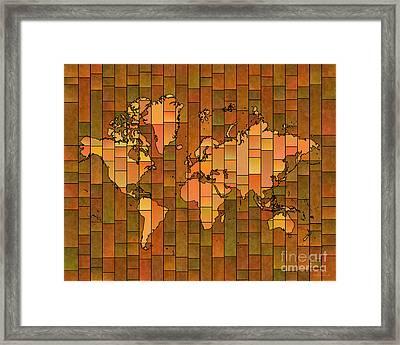 World Map Glasa Brown Orange Green Framed Print by Eleven Corners