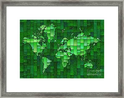 World Map Glasa Green Framed Print by Eleven Corners