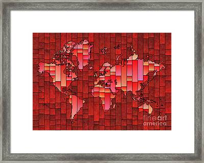 World Map Glasa Red Framed Print by Eleven Corners