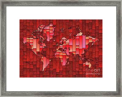 World Map Glasa Red Framed Print
