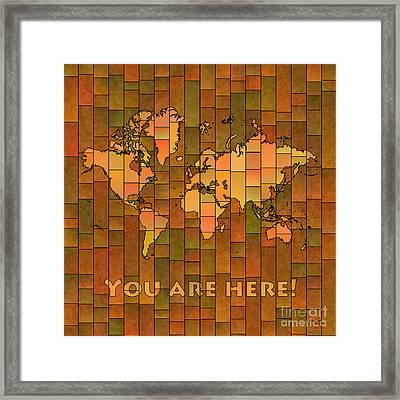 World Map Glasa You Are Here Brown Orange Green Framed Print
