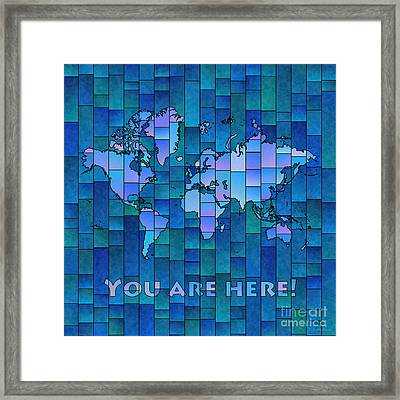 World Map Glasa You Are Here In Blue Framed Print