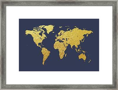 World Map Gold Foil Framed Print