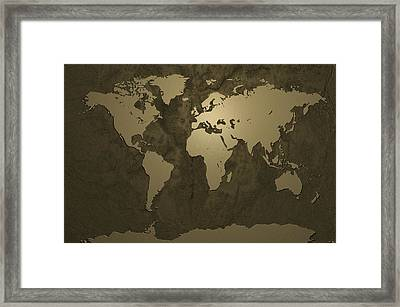 World Map Gold Framed Print by Michael Tompsett