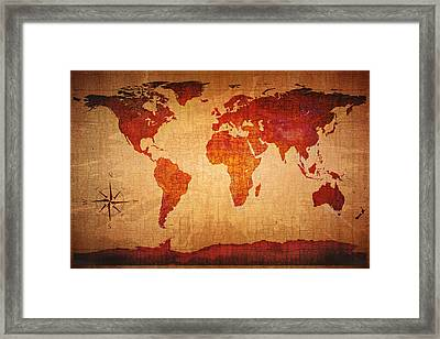 World Map Grunge Style Framed Print by Johan Swanepoel