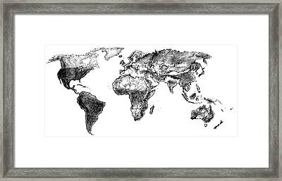 Framed Print featuring the drawing World Map In Graphite by Heidi Kriel