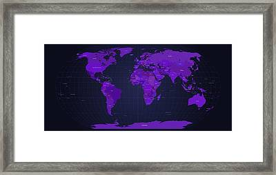 World Map In Purple Framed Print