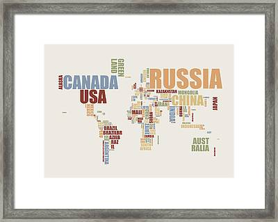 World Map In Words 2 Framed Print