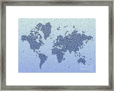 World Map Kotak In Blue Framed Print