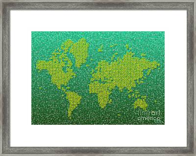 World Map Kotak In Green And Yellow Framed Print