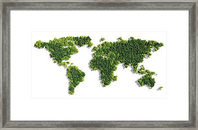 World Map Made Of Green Trees Framed Print
