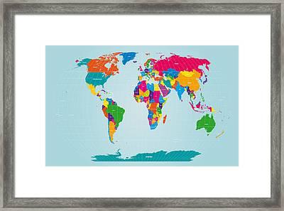 World Map  Framed Print by Michael Tompsett