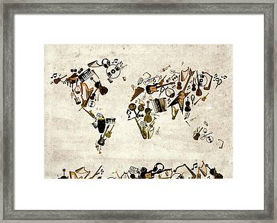 World Map Music 1 Framed Print