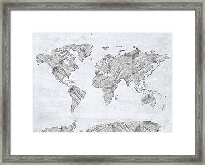 Framed Print featuring the digital art World Map Music 10 by Bekim Art