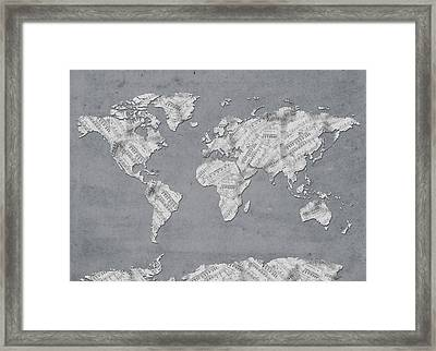 Framed Print featuring the digital art World Map Music 11 by Bekim Art