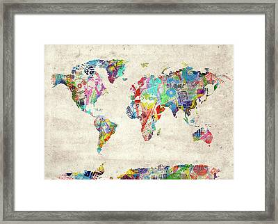 Framed Print featuring the digital art World Map Music 12 by Bekim Art