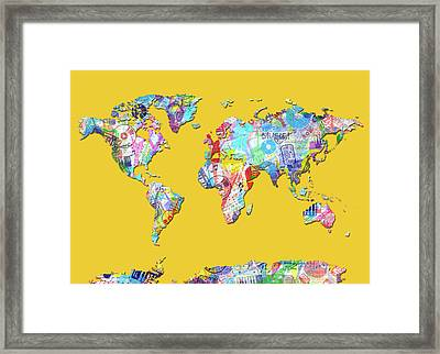Framed Print featuring the digital art World Map Music 13 by Bekim Art