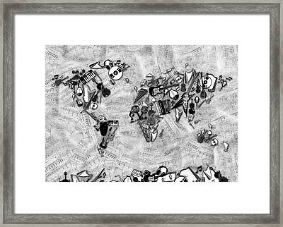 Framed Print featuring the digital art World Map Music 2 by Bekim Art
