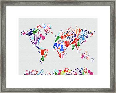 Framed Print featuring the digital art World Map Music 3 by Bekim Art