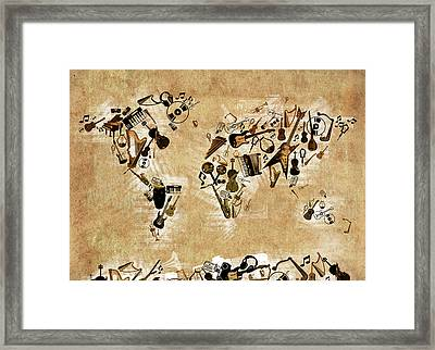 Framed Print featuring the digital art World Map Music 4 by Bekim Art