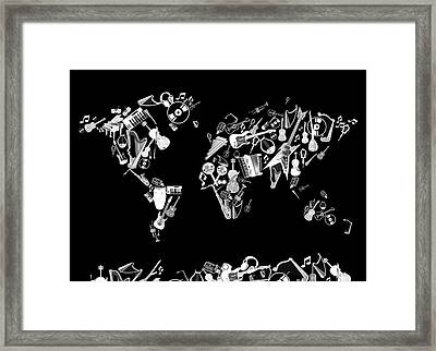Framed Print featuring the digital art World Map Music 5 by Bekim Art