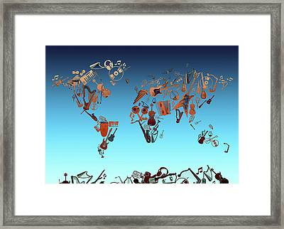 Framed Print featuring the digital art World Map Music 6 by Bekim Art
