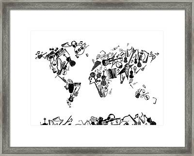 Framed Print featuring the digital art World Map Music 7 by Bekim Art