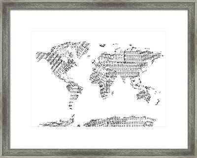 Framed Print featuring the digital art World Map Music 8 by Bekim Art