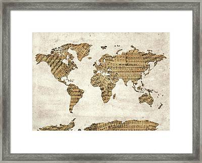 Framed Print featuring the digital art World Map Music 9 by Bekim Art