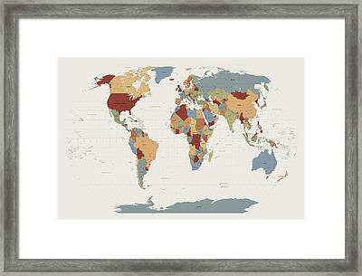 World Map Muted Colors Framed Print by Michael Tompsett