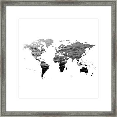World Map - Ocean Texture - Black And White Framed Print by Marianna Mills