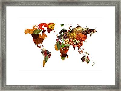 World Map Of Spices And Herbs  Framed Print