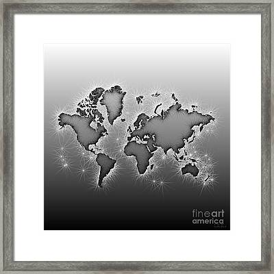 World Map Opala In Black And White Framed Print