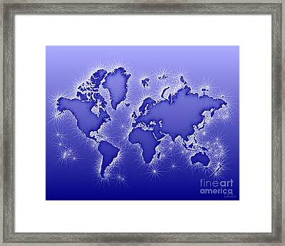 World Map Opala In Blue And White Framed Print