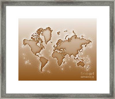 World Map Opala In Brown And White Framed Print